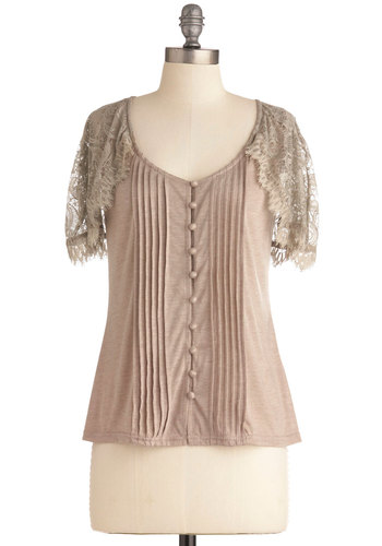 Lace of Capes Top - Mid-length, Tan, Solid, Buttons, Lace, Pleats, Casual, Short Sleeves