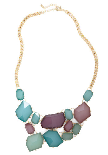 Treasured Guest Necklace - Multi, Green, Blue, Purple, Gold, Statement, Prom, Party, Cocktail, Holiday Party, Bridesmaid