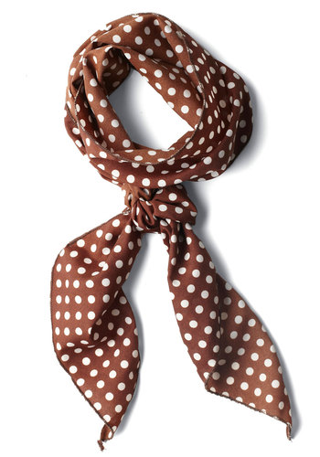 Bow to Stern Scarf in Mocha Dots - Brown, White, Polka Dots, Work