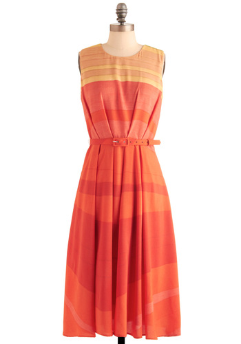 Sun-Settling In Dress by Eva Franco - Orange, Multi, Print, Pleats, Vintage Inspired, Red, Yellow, Stripes, Buckles, Party, A-line, Sleeveless, Summer, Work, Casual, Long, Belted, Tis the Season Sale, Crew