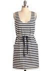 Paris Mon Amour Dress - Mid-length, Multi, Blue, White, Stripes, Casual, Nautical, Sheath / Shift, Sleeveless, Summer