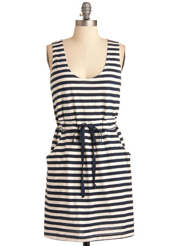 Paris Mon Amour Dress - Mid-length, Multi, Blue, White, Stripes, Casual, Nautical, Shift, Sleeveless, Summer