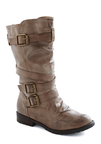 Portland That I Love Boots - Tan, Solid, Buckles, Casual, Fall