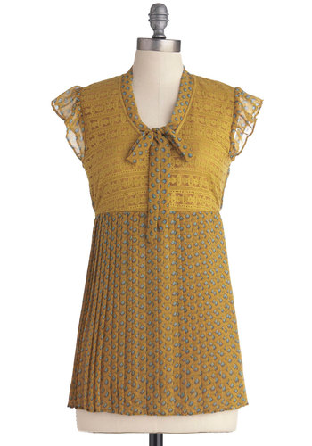 A Honey Thing Happened Top - Yellow, Pleats, Work, Vintage Inspired, Empire, Short Sleeves, Blue, Print, Lace, Ruffles, Mid-length