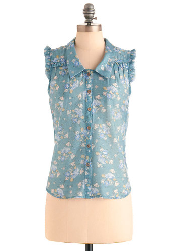 Good Morning, Garden Top - Mid-length, Blue, Floral, Buttons, Casual, Sleeveless, White, Ruffles, Spring