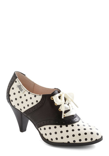 Rachel Antonoff for Bass Saddled with Sweetness Heel in Dots by Bass - White, Polka Dots, Work, Menswear Inspired, Fall, Black