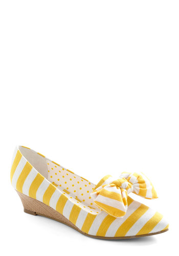 Consider It Dune Wedge - White, Stripes, Bows, Spring, Casual, Yellow, Woven, Wedge