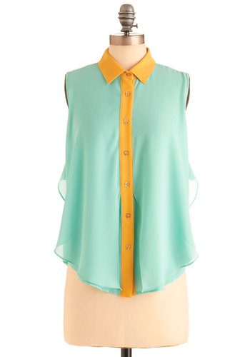 In Summery Top - Mid-length, Yellow, Buttons, Ruffles, Work, Sleeveless, Spring, Sheer, Mint, Button Down, Collared, Colorblocking