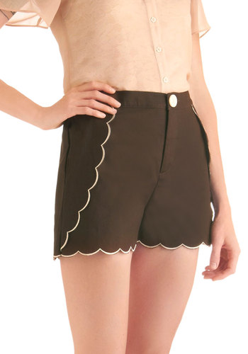 Gingerbread Bungalow Shorts by Knitted Dove - Short, Casual, Fairytale, Brown, White, Solid, Pockets, Scallops, Summer, High Waist, Tis the Season Sale