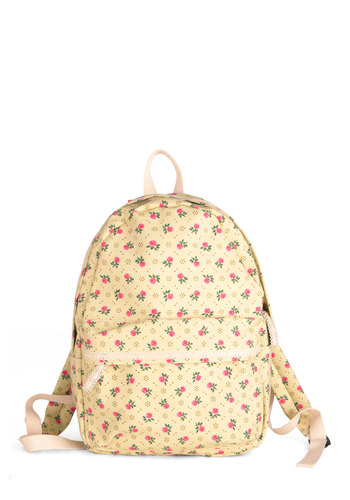 Kingdom, Phyllum, Classroom Backpack - Casual, Vintage Inspired, Floral, Lace, Pockets, Trim, Cream, Multi, Green, Pink, 90s