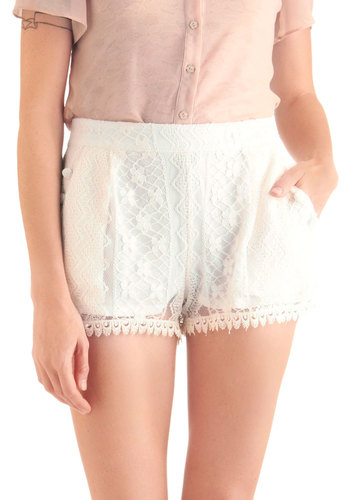Everyday Dainty Shorts - Short, Casual, Vintage Inspired, White, Solid, Buttons, Lace, Pockets, Summer