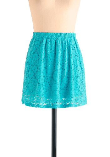 Counting Down the Flowers Skirt - Short, Blue, Solid, Lace, Pockets, Casual, Summer, Mini