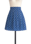 Media Kitty Skirt in Blue - Short, Blue, White, Print with Animals, Pleats, Work, Casual, A-line