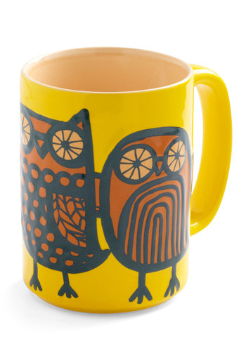 Owl Ready to Go Mug in Yellow - Yellow, Owls, Orange, Blue, Dorm Decor, Mid-Century, Eco-Friendly, Top Rated