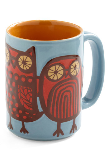Owl Ready to Go Mug in Blue - Blue, Owls, Red, Brown, Dorm Decor, Eco-Friendly, Mid-Century, Good