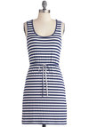 Relaxing Poolside Dress by Tulle Clothing - Mid-length, Blue, White, Stripes, Casual, Nautical, Sheath / Shift, Tank top (2 thick straps), Spring, Summer, Belted, Beach/Resort
