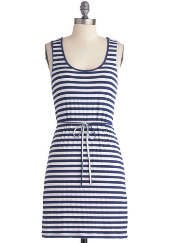 Relaxing Poolside Dress by Tulle Clothing - Mid-length, Blue, White, Stripes, Casual, Nautical, Shift, Tank top (2 thick straps), Spring, Summer, Belted, Beach/Resort