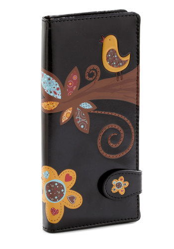 Income the Compliments Wallet - Black, Multi, Print with Animals, Multi, Faux Leather, International Designer, Top Rated