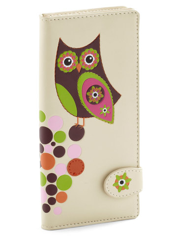 Just for Funds Wallet - Cream, Multi, Print with Animals, Owls, Multi, Neon, Faux Leather, International Designer