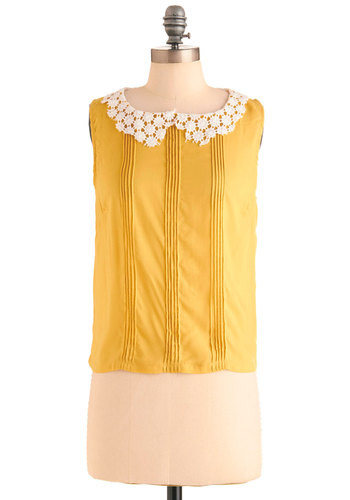 Presh as a Daisy Top - Short, Yellow, Tan / Cream, Solid, Peter Pan Collar, Pleats, Vintage Inspired, Sleeveless, Spring, Lace, 60s