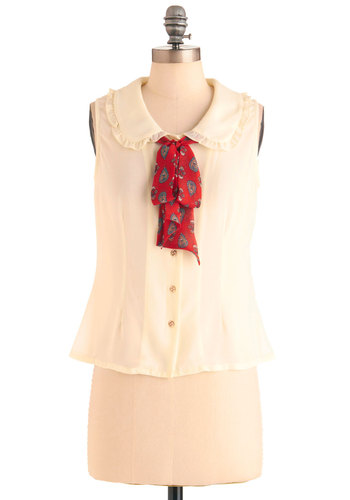 Tome Away from Tome Top - Short, Cream, Red, Paisley, Buttons, Ruffles, Work, Vintage Inspired, Sleeveless, Peter Pan Collar, 60s