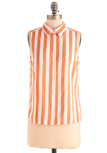 Floats My Pedal Boat Top - Mid-length, Orange, Stripes, Buttons, Casual, Menswear Inspired, Sleeveless, White, Summer