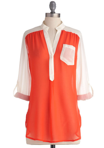 Sheer for You Top in Coral Colorblock - Long, Orange, White, Buttons, Pockets, Casual, Long Sleeve, Neon, Sheer, Coral, Colorblocking, V Neck