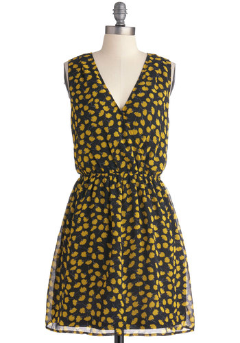 Get in Dandelion Dress - Mid-length, Casual, Yellow, Black, Grey, Floral, A-line, Multi, Sleeveless, V Neck
