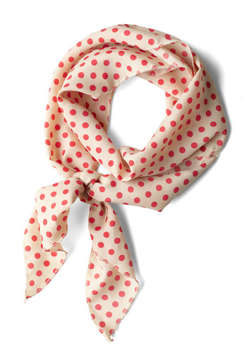 Bow to Stern Scarf in Beige Dots - Cream, Red, Polka Dots, Nautical