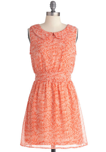 So Frond of Fashion Dress - White, Print, Peter Pan Collar, Casual, A-line, Orange, Sleeveless, Short