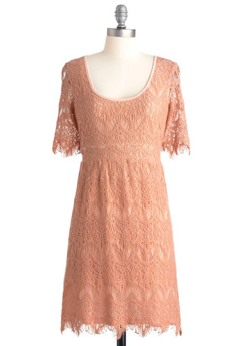 Peach Perfection Dress - Mid-length, Pink, Lace, Shift, Short Sleeves, Solid, Boho, Party, Pastel, Sheer, Cotton, Graduation, Scoop