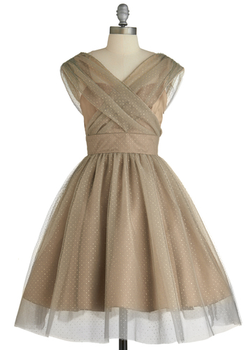 Belle in Bronze Dress - Special Occasion, Prom, Pink, Tan, Solid, Polka Dots, Wedding, A-line, Ballerina / Tutu, Cap Sleeves, Mid-length, Gold, Gold
