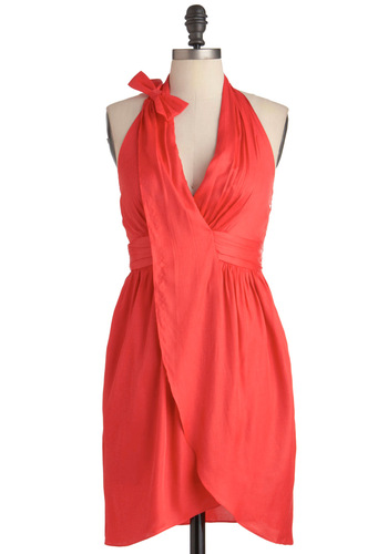 What's Carmine Is Yours Dress - Mid-length, Orange, Solid, Bows, Party, Empire, Halter, Summer