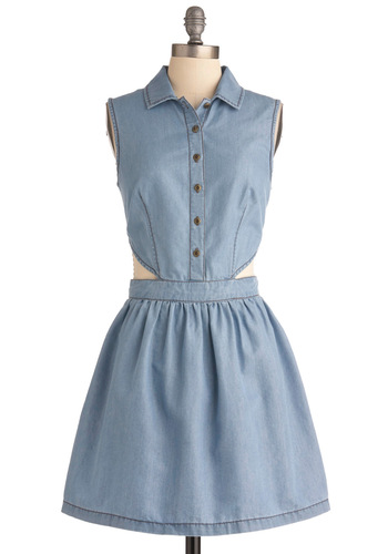Without a Care Dress - Mid-length, Blue, Solid, Cutout, Casual, Shirt Dress, Sleeveless, Summer