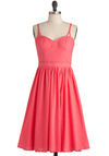 Melon Love with a Dress - Long, Pink, Solid, Pockets, Casual, A-line, Spaghetti Straps, Summer, Vintage Inspired, 50s, Fit & Flare, Cotton, Coral, Sweetheart