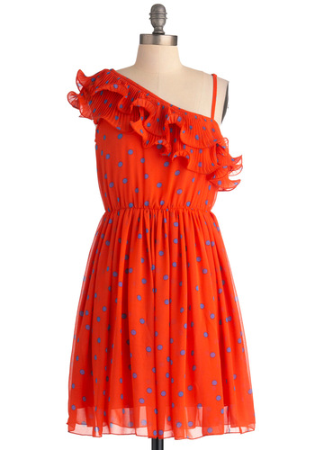 Bright and Breezy Dress - Mid-length, Orange, Blue, Polka Dots, Ruffles, Party, One Shoulder, Sheath / Shift, Summer, Neon, Sheer, Tis the Season Sale