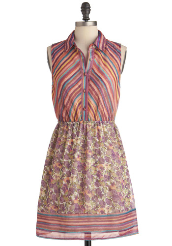 Rainbow It All Dress - Mid-length, Multi, Stripes, Floral, Buttons, Shirt Dress, Sleeveless, 70s, Purple, Multi, Casual, Vintage Inspired