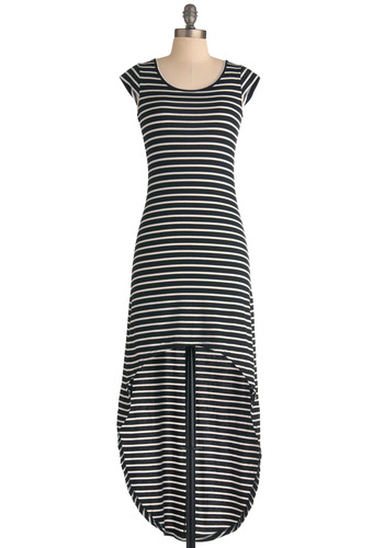Check Matte Dress - Short, Black, White, Stripes, Casual, Cap Sleeves, Shift, High-Low Hem