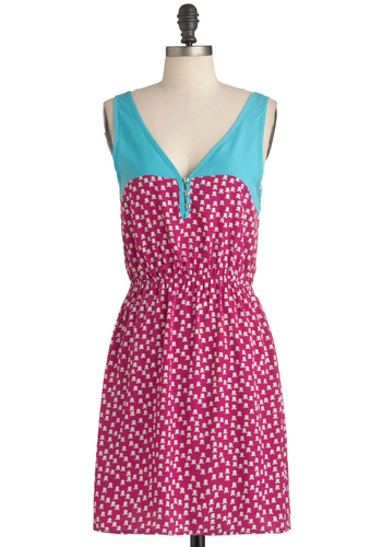 Bicycle Built for Tulip Dress - Mid-length, Pink, Blue, White, Buttons, Casual, Shift, Tank top (2 thick straps), Summer, Floral, Neon, V Neck