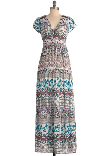 So Serene Dress - Long, Multi, Print, Casual, 70s, Maxi, Short Sleeves, Multi, Lace, Boho, Vintage Inspired, Summer