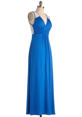 Brunch by the Falls Dress in Royal Blue - Long, Blue, White, Solid, Lace, Maxi, Summer, Casual, Sleeveless, Beach/Resort