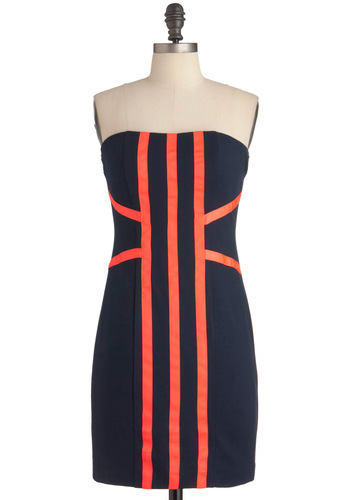 Mingle File Line Dress - Blue, Orange, Stripes, Party, Mini, Strapless, Sheath / Shift, Mid-length