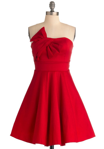 Pristine Presentation Dress - Red, Solid, Bows, Formal, A-line, Strapless, Vintage Inspired, Prom, 50s, Mid-length