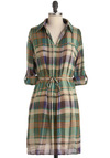 At the Lake Tunic - Long, Purple, Plaid, Casual, Long Sleeve, Multi, Green, Tan / Cream