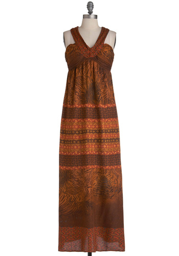 Rust Assured Dress - Long, Brown, Orange, Print, Maxi, Halter, Casual, Boho, Backless, Summer