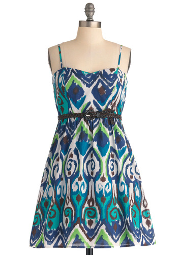Seashore Swirl Dress - Mid-length, Green, Brown, White, Print, Casual, A-line, Spaghetti Straps, Boho, Multi, Blue, Summer, Belted, Cotton, Tis the Season Sale