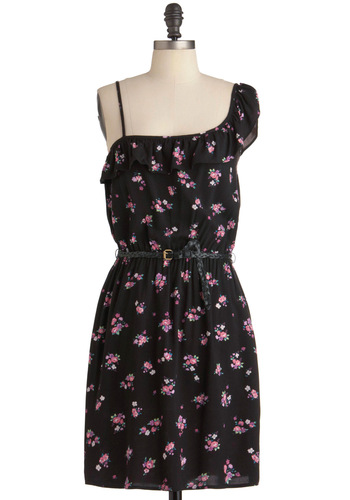 Posy for Pictures Dress - Mid-length, Black, Purple, Pink, Floral, Ruffles, Casual, Shift, Summer, One Shoulder, Belted