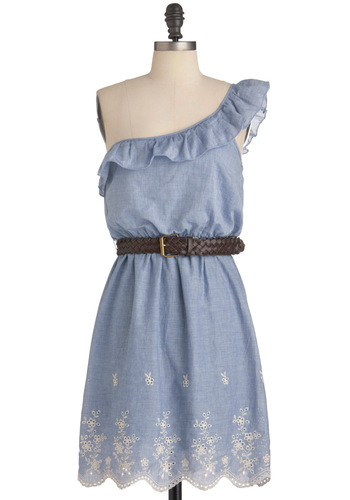 Sunday Stroll Dress - Mid-length, Blue, White, Floral, Ruffles, Casual, Shift, One Shoulder, Summer, Eyelet, Scallops, Belted, Cotton