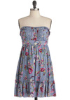 Art Teacher in Training Dress - Blue, Yellow, Green, Pink, Tan / Cream, Floral, Trim, Casual, Empire, Strapless, Lace, Ruffles, Boho, Short, Sweetheart
