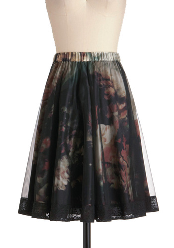 Got It Shade Skirt - Mid-length, Floral, Lace, A-line, Pink, Black, Embroidery, Party, Sheer